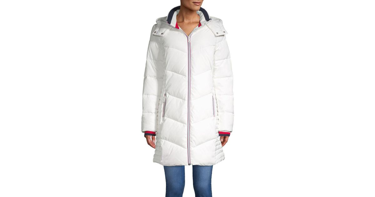 96ef860af Tommy Hilfiger White Long Chevron Quilted Puffer Coat