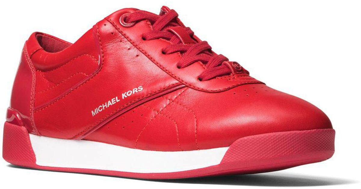 ac083bb854 MICHAEL Michael Kors Addie Lace-up Leather Low-top Sneakers in Red - Lyst