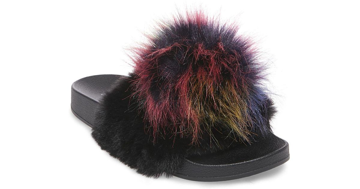 later detailed look incredible prices Steve Madden Spiral Faux Fur Slides - Lyst