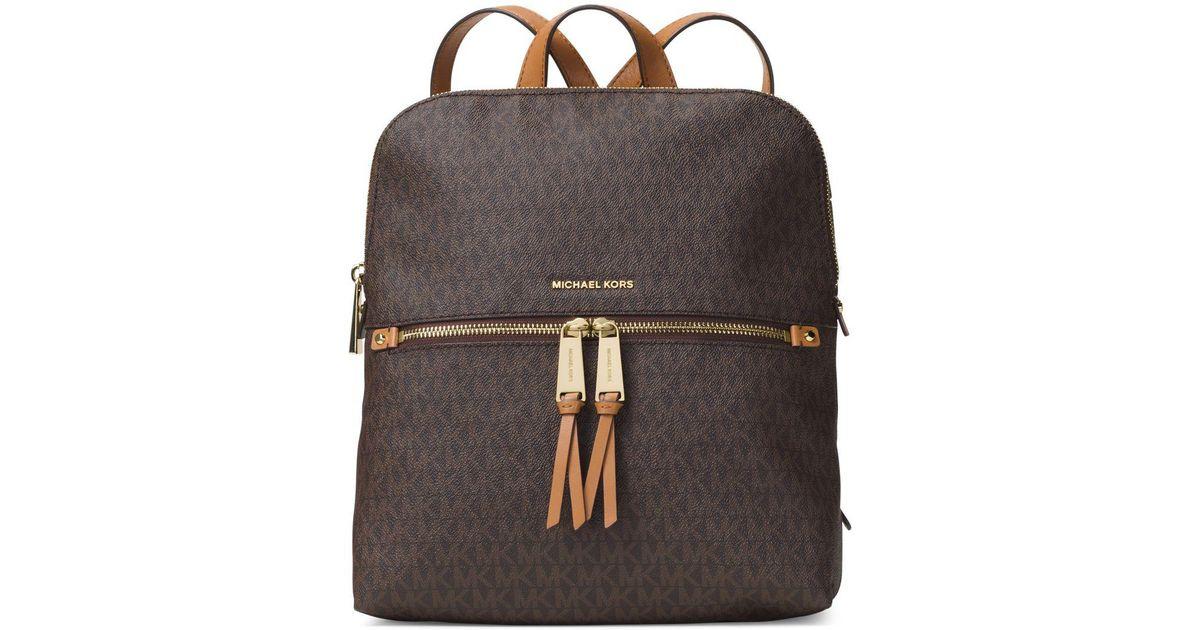 c46737b4e090 Michael Michael Kors Rhea Zip Slim Logo Backpack in Brown - Lyst