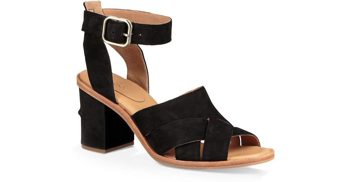 UGG® Sandra Nubuck Leather Block Heel Sandals wuOZSwwj