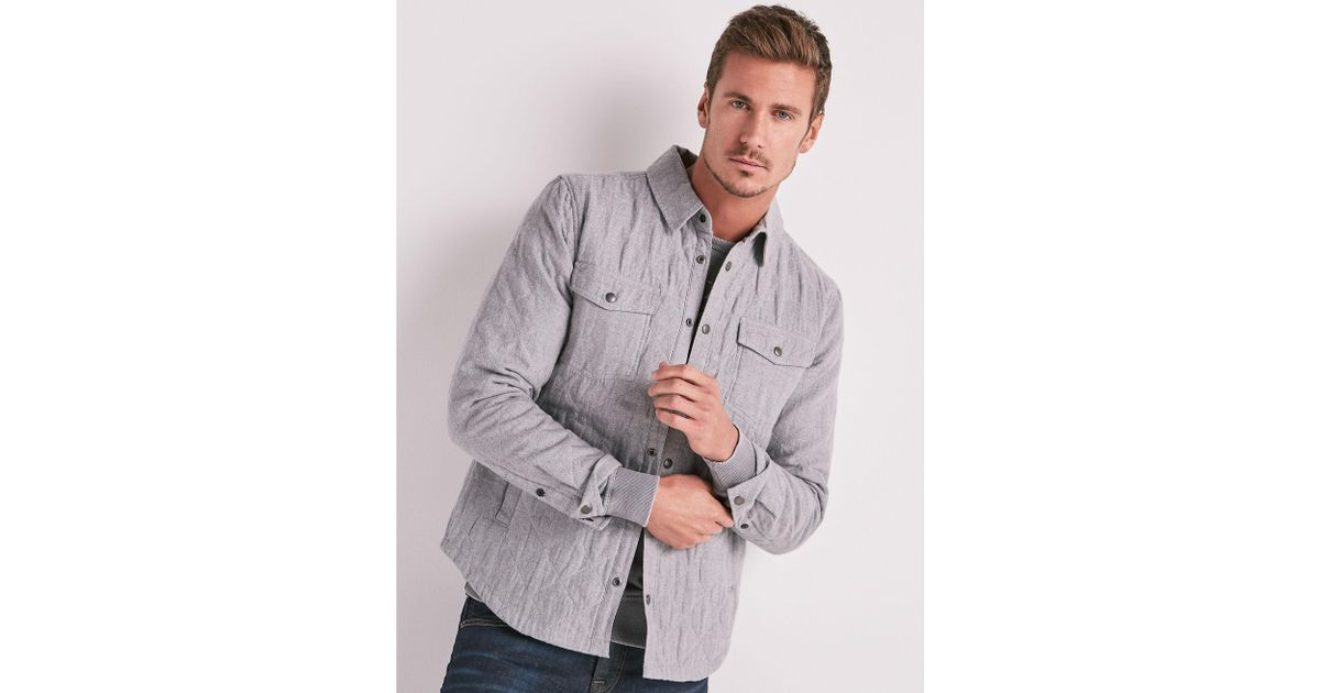 1c16e78dd5 Lyst - Lucky Brand Quilted Shirt Jacket in Gray for Men