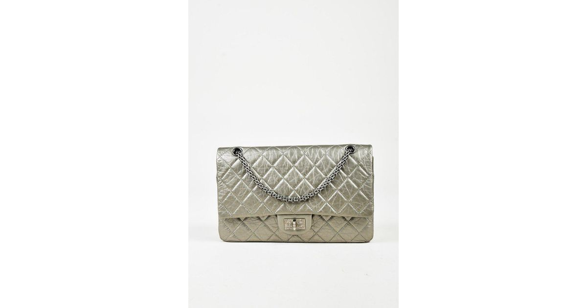 Lyst - Chanel Gray Quilted Distressed Calfskin