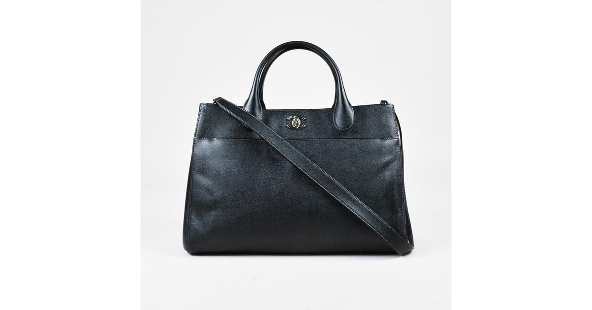 3f5be6a6ea2a Lyst - Chanel Black Grained Leather Silver Tone  cc