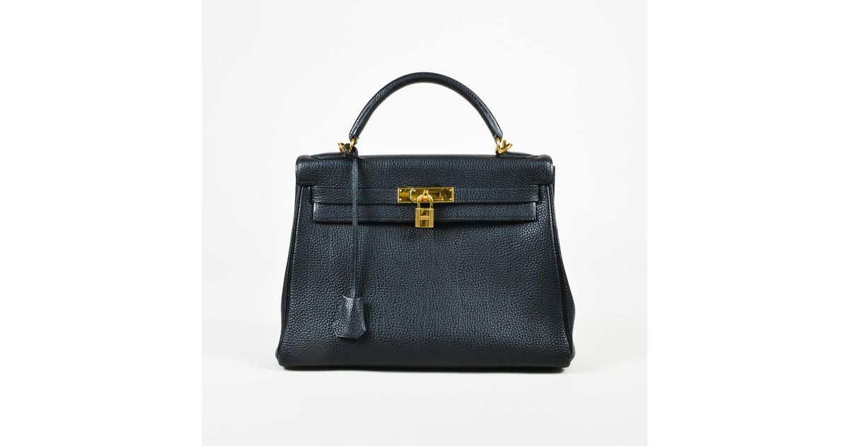 4ccc77dfb6a7a ... cheap lyst hermès black togo leather gold tone kelly retourne 32  satchel bag in black 0c02b