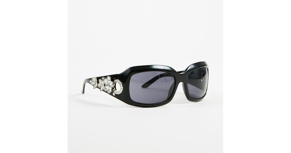 9a246c172e8 Lyst - Bvlgari Black Swarovski Crystal Embellished Oversized Sunglasses in  Black