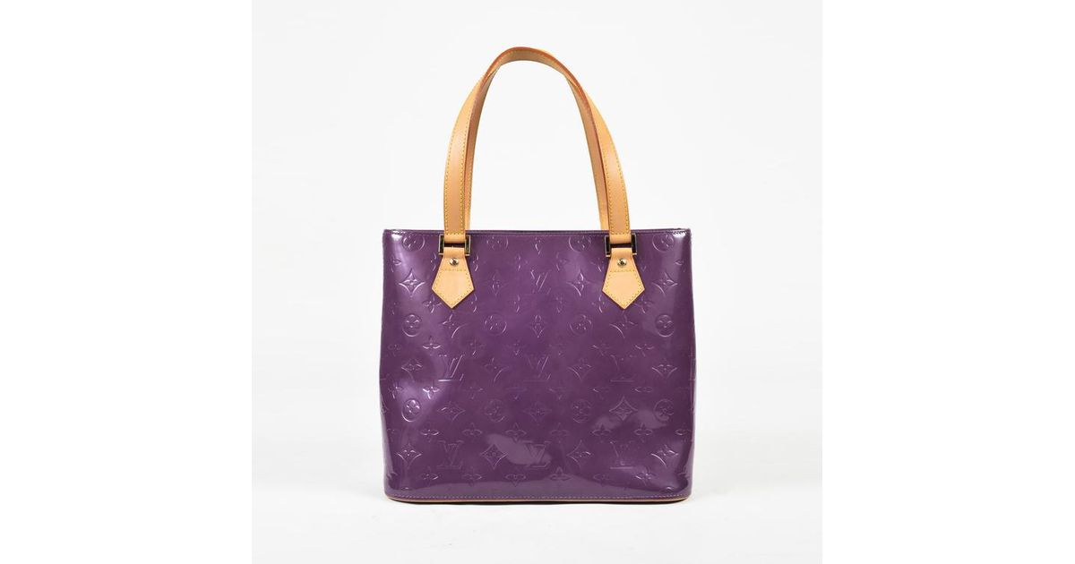 5d40436cf5f2 Lyst - Louis Vuitton Vintage Purple Vernis Monogram Patent Houston Tote Bag  in Purple