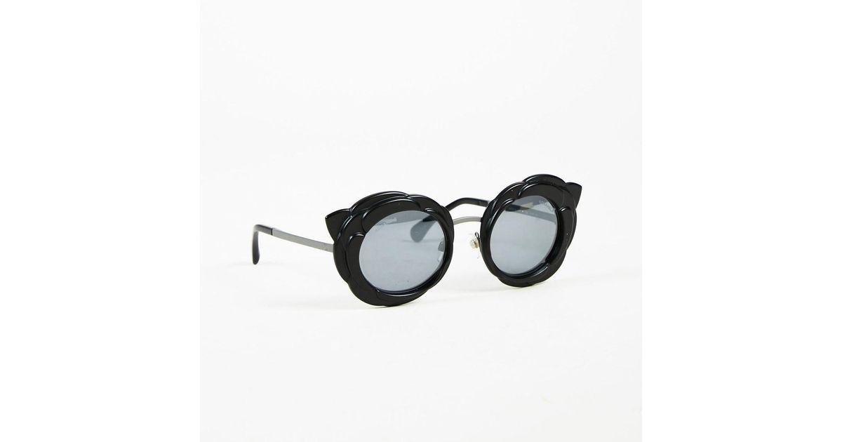 014993db676 Lyst - Chanel Runway 2017 Black   Gray Camellia Flower Round Sunglasses in  Black