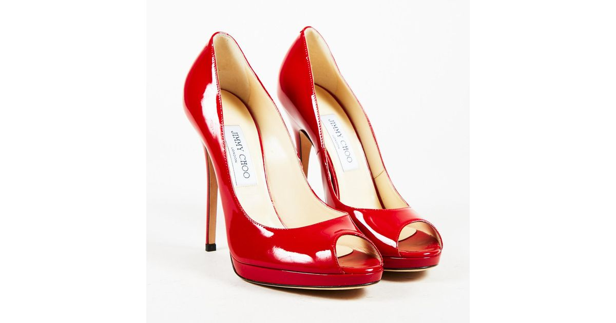 Jimmy Choo Nwot Red Patent Leather Peep