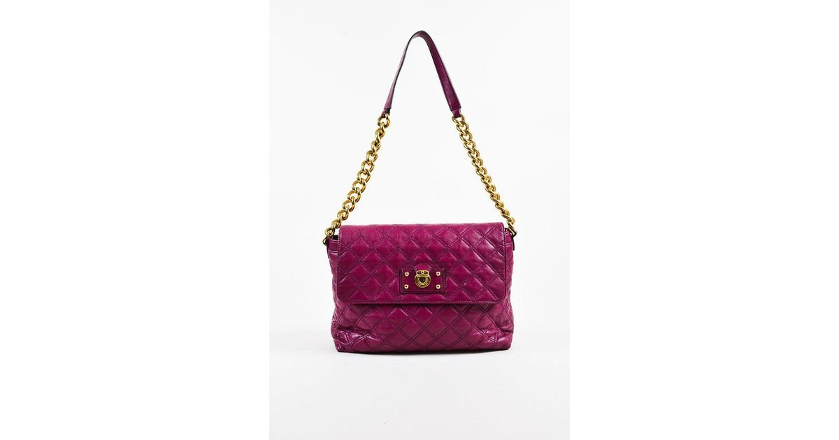 e19f7c0445f8 Lyst - Marc Jacobs Purple Quilted Leather Gold Tone Chain Link Shoulder Bag  in Purple