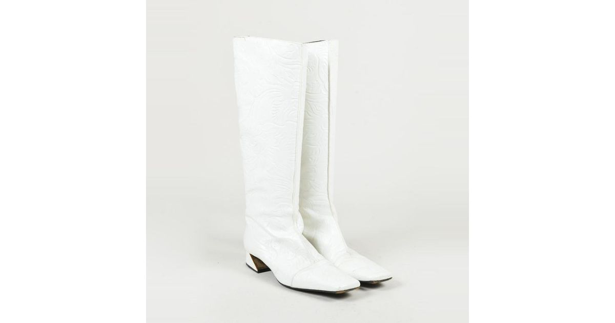 4f0a2f409b Fendi White Embossed Leather Square Toe Low Heel Knee High Boots Sz 38.5