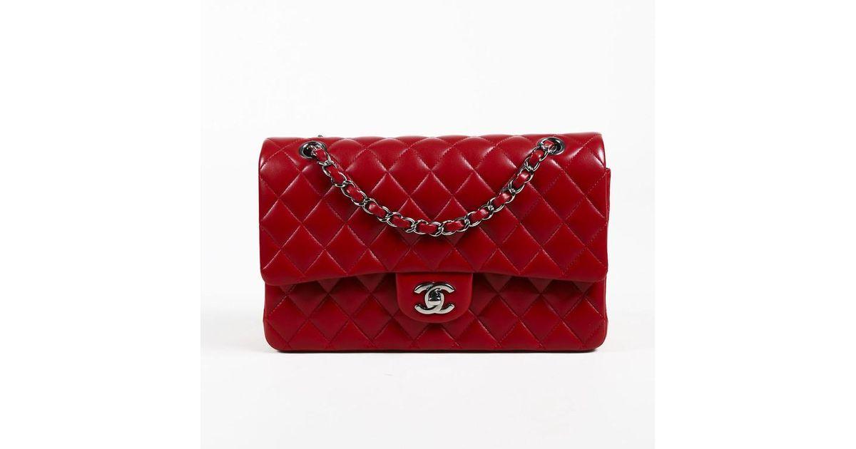 b8da8b67fb8b Lyst Chanel Red Quilted Lambskin Leather Medium Double Flap. Chanel Red  Quilted Lambskin Leather Medium Clic Double Flap Bag Nextprev Prevnext