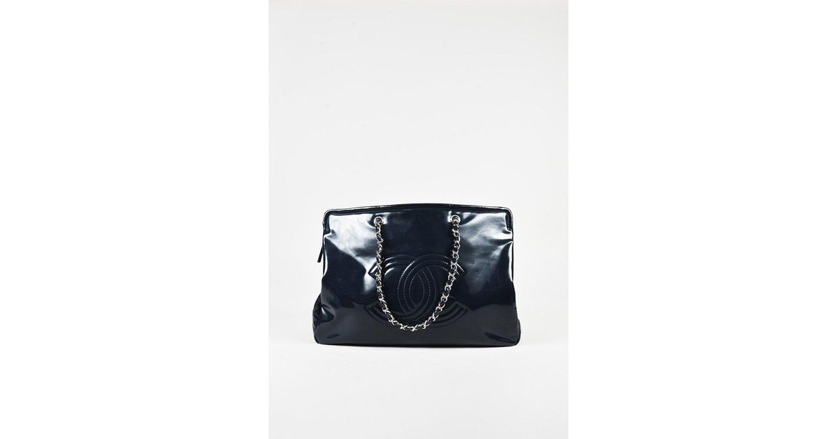 9ffe9f35ebeaaa Lyst - Chanel Navy Patent Leather