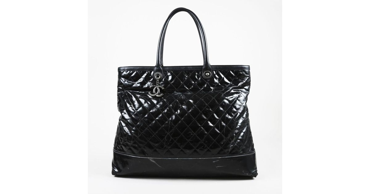 8fb9ed104e3f Chanel Black Coated Canvas & Leather Quilted