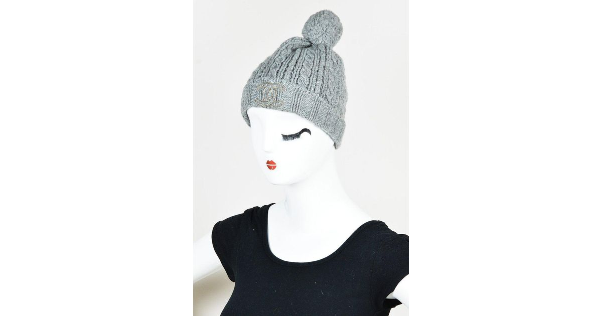 Lyst - Chanel Gray Cashmere Cable Knit Pom Pom Beanie Hat in Gray bed890af224