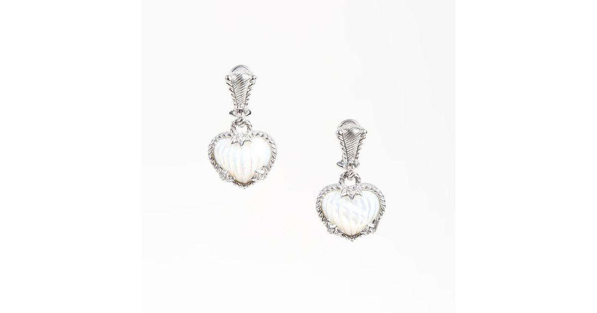 Lyst Judith Ripka Sterling Silver Mother Of Pearl Heart Shaped Earrings In Metallic