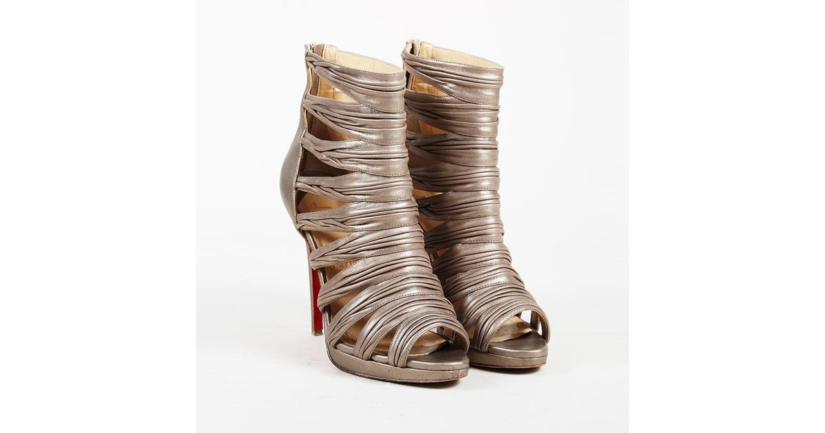 dda6e72c8553 Lyst - Christian Louboutin Metallic Gold Leather Strappy