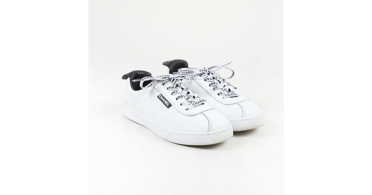 Chanel White Leather 'cc' Sneakers - Lyst
