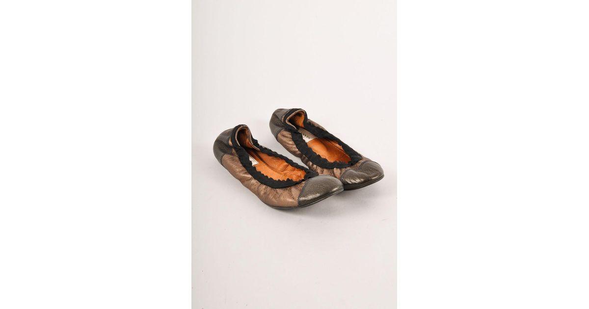 6f0c4940de5 Lyst - Lanvin Metallic Bronze Leather Cap Toe Ballet Flats in Metallic