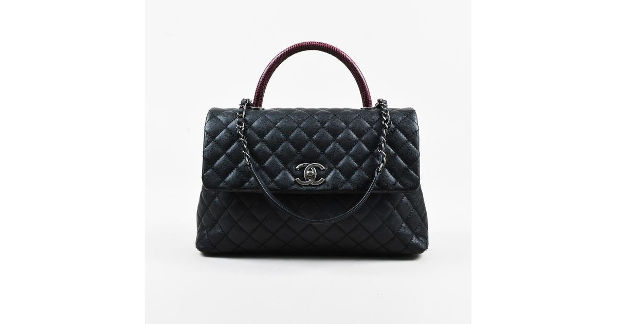 bd3a664a9b425f Chanel Black Purple Quilted Caviar Calfskin Lizard Trim