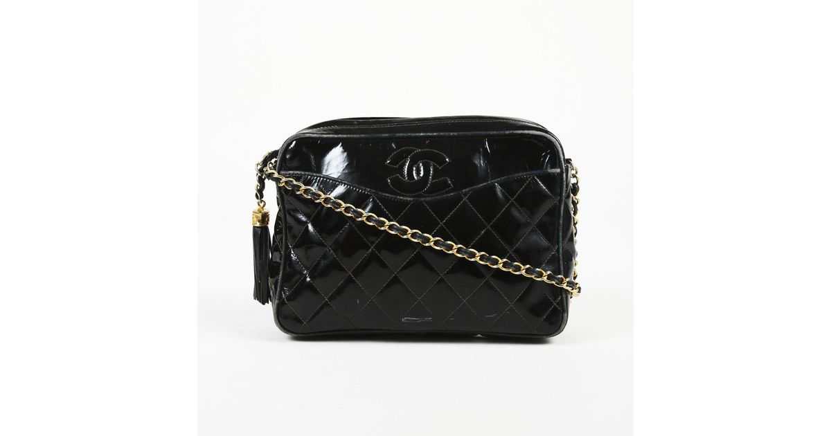 ad0b5c8e3a82 Chanel Vintage Quilted Patent Leather Camera Bag in Black - Lyst