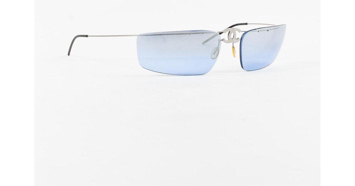 78c616314397 Chanel Blue 'cc' Frameless Sunglasses in Blue - Lyst