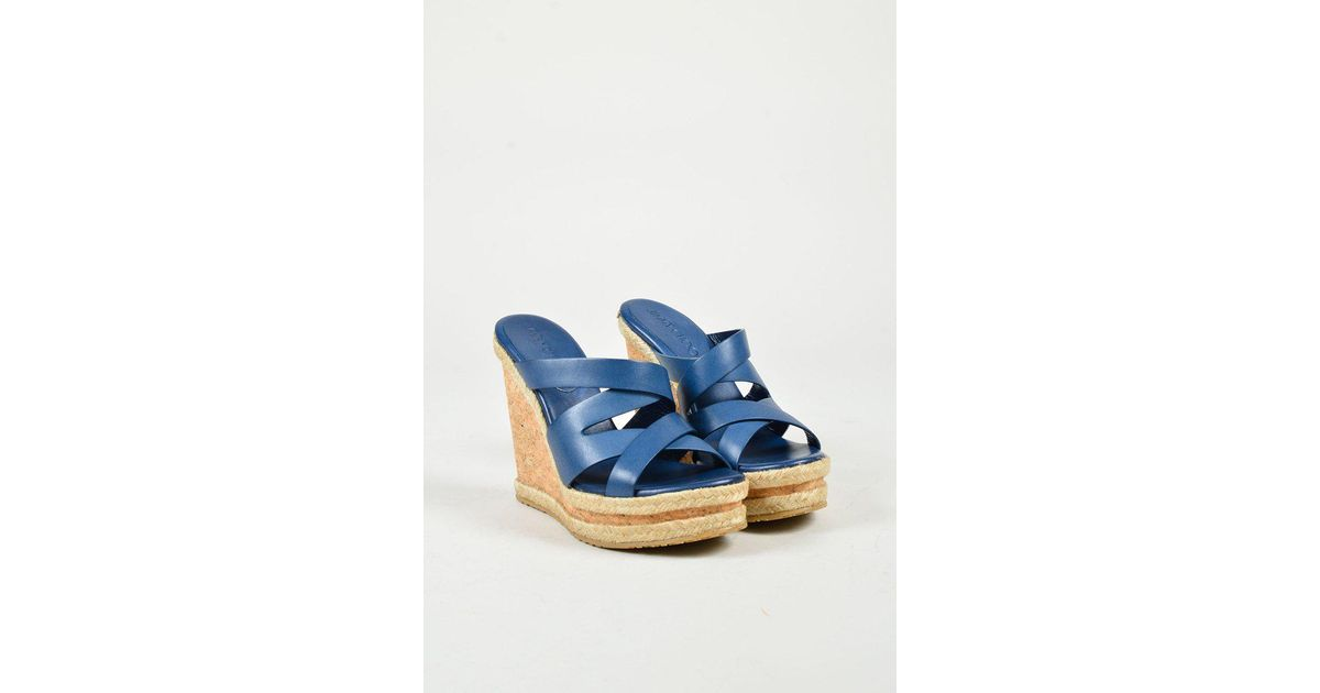 3a90fbded97a Lyst - Jimmy Choo Navy Blue Leather Beige
