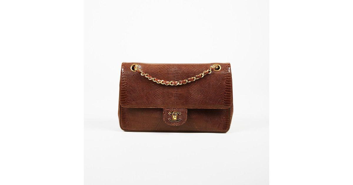 4e0786e0beb6 Chanel Vintage Brown Lizard Skin Medium Classic Double Flap Bag in Brown -  Lyst