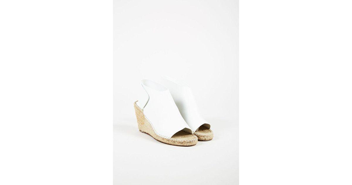 29c946f50b9 Céline White Leather Open Toe Espadrille Platform Wedges