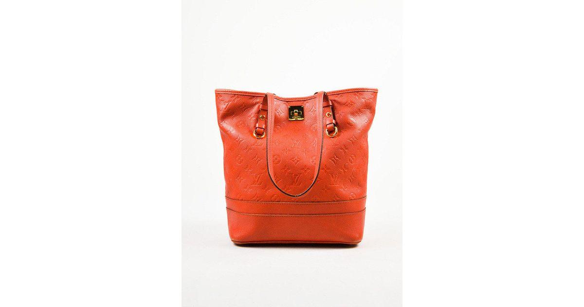 b1db4084983b Louis Vuitton Red Empreinte Leather Monogram Citadine Pm Tote Bag in Red -  Lyst