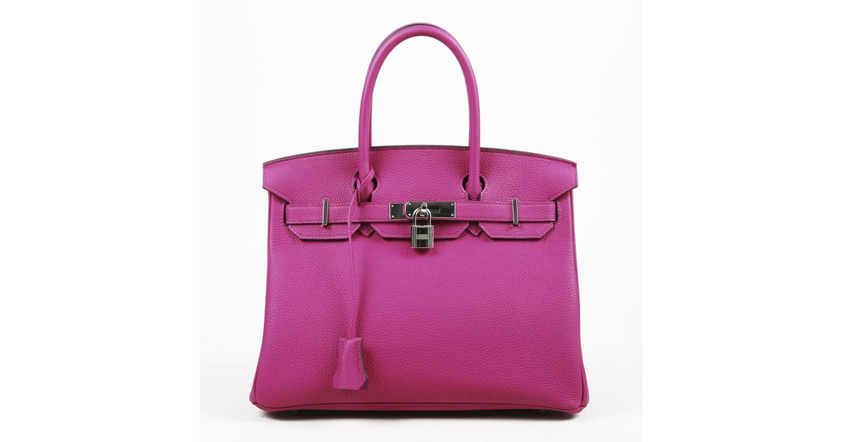 Hermes Birkin 30 Rose Pourpre Togo Leather Bag In Purple Lyst
