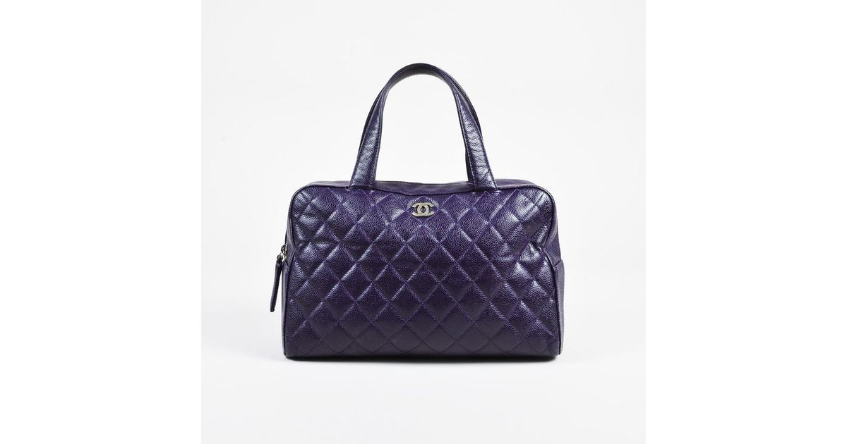 Lyst - Chanel Purple   Silver Tone Caviar Leather Quilted Top Handle Tote  in Purple 81a8e97c3fde2