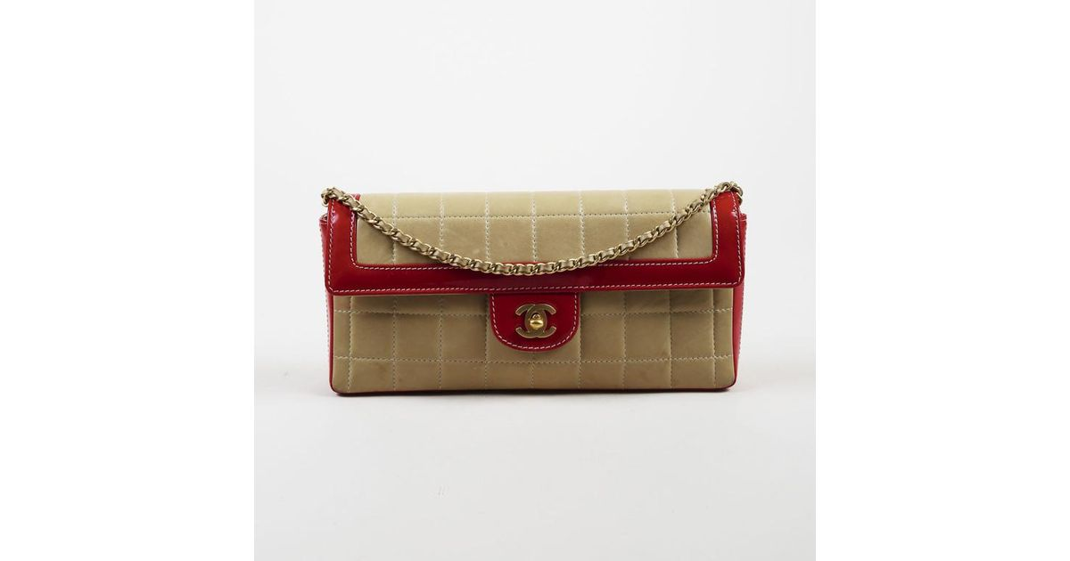 eff4cee16d4b Lyst - Chanel Beige Quilted Lambskin Red Patent