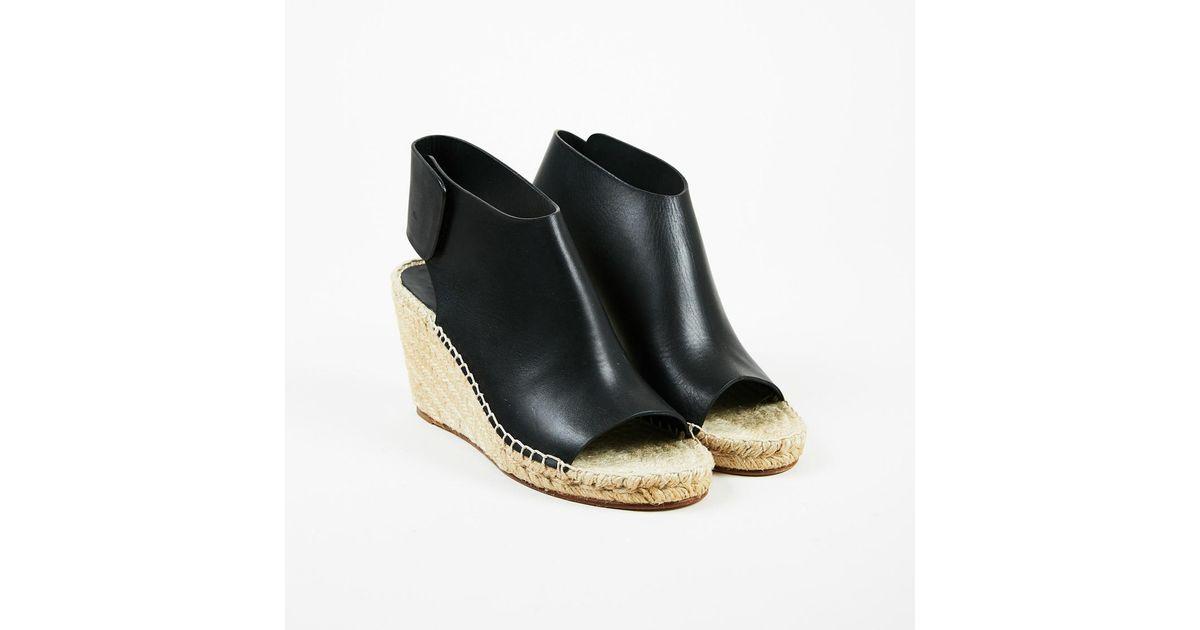 79aabbd51f5 Céline - Nwt Black Leather Peep Toe Espadrille Wedge Sandals Sz 36 - Lyst