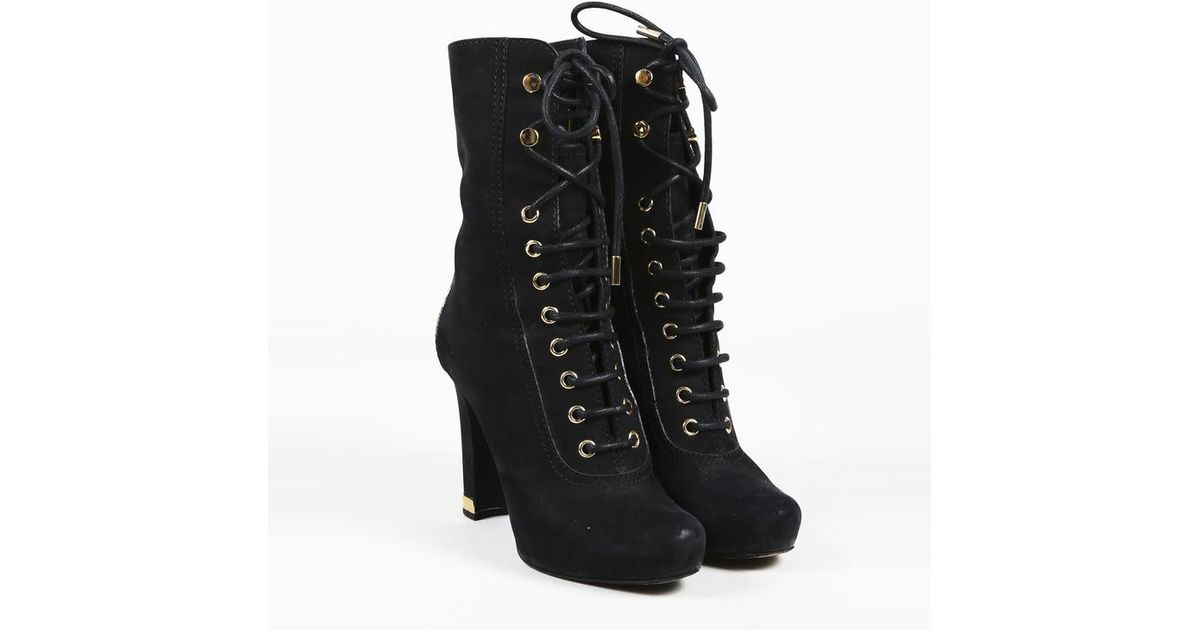 best authentic release date: top brands Louis Vuitton Black Leather Gold Tone Lace Up Ankle Boots - Lyst