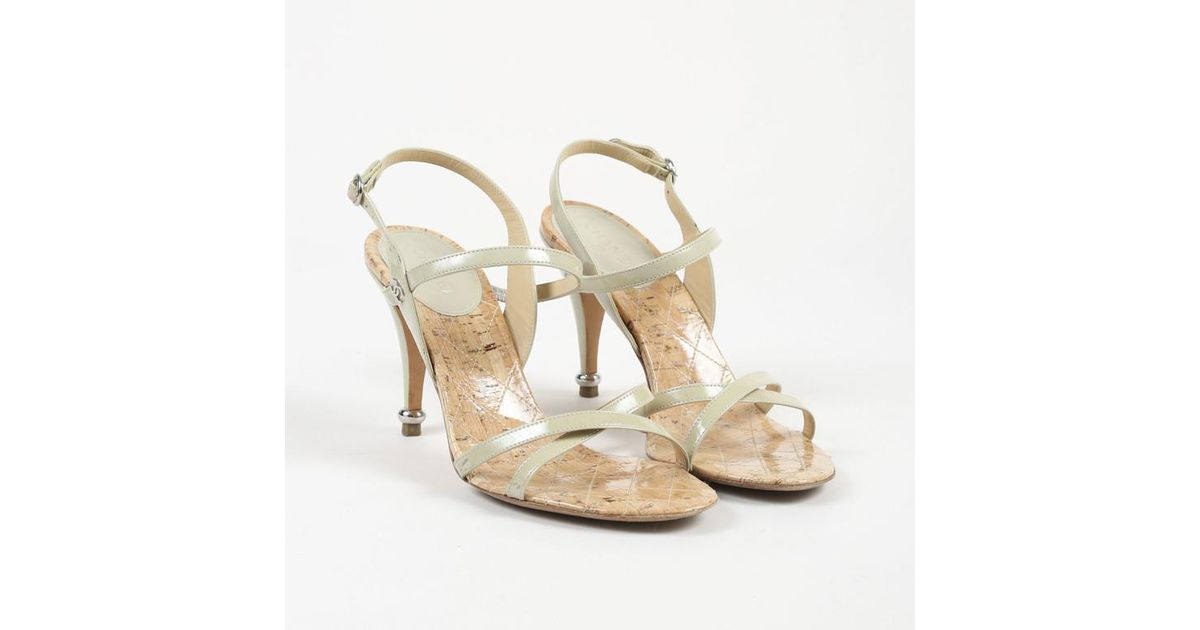 3c7d609066e Lyst - Chanel Beige Patent Leather Cork Sandals in Natural