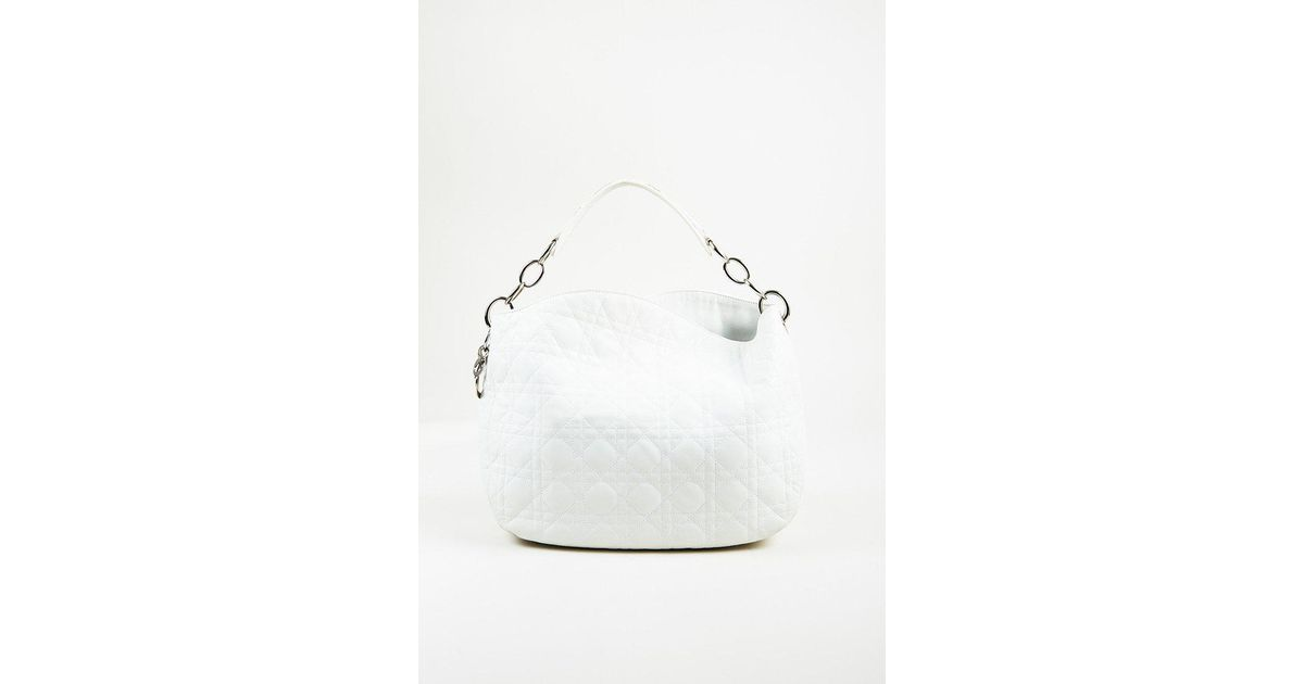 Lyst - Dior White Quilted Lambskin Leather
