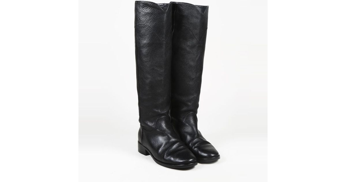 7c738cbb7cf Lyst - Chanel Black Grained Leather Low Heel Knee High Boots in Black