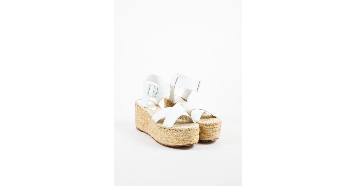 bb4cac02e71 Céline White Leather Crossover Platform Ankle Strap Espadrille Sandals