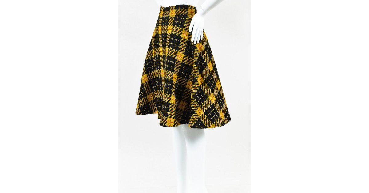 40210a154 Black and Lemon Yellow Schoolgirl Tartan Plaid Pleated Micro Mini Skirt  Semaphore (28