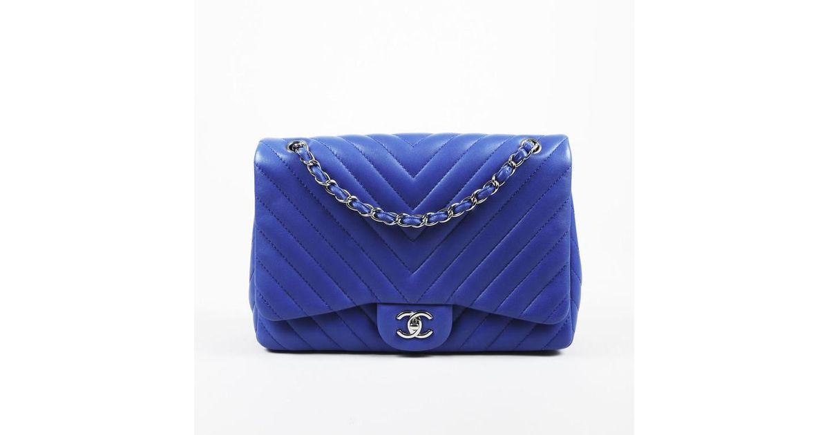 7038851adce9 Chanel Nwt Dark Blue Chevron Quilted Lambskin