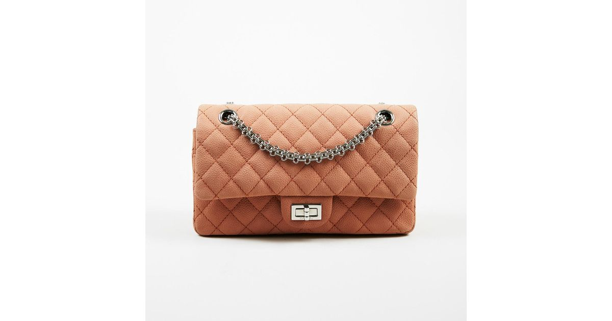 69ef6d24f12c5 Chanel 2.55 Reissue Classic 227 Double Flap Caviar Leather Bag in Pink -  Lyst