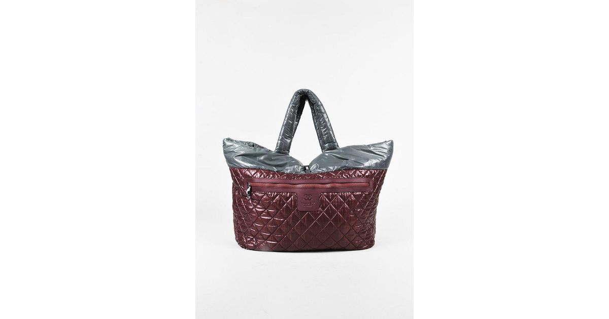 259f5279b8bf8f Chanel Red Grey Quilted Nylon Reversible