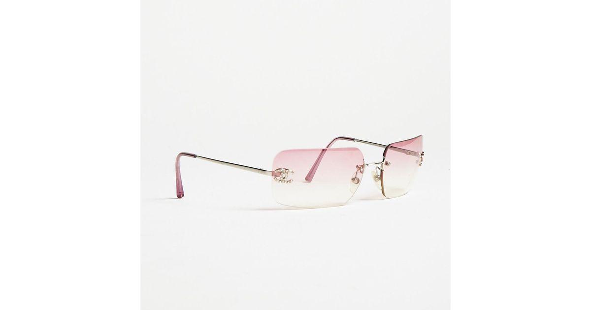 e6270894e7a69 Lyst Chanel Pink Rhinestone Embellished Cc Rimless Sunglasses In