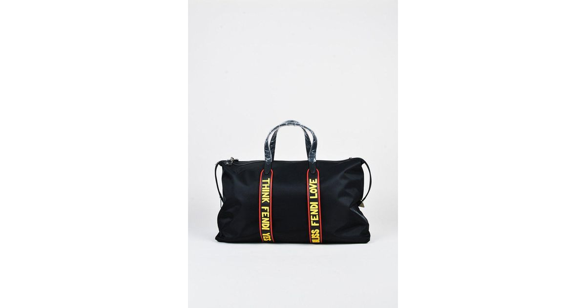 9efc2063f5ba Fendi Black Red   Yellow Nylon   Leather
