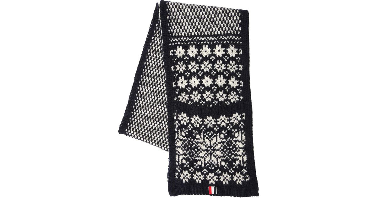 4721c4dcd4a Lyst - Thom Browne Snowflake Wool   Mohair Scarf W  Pockets in Blue for Men