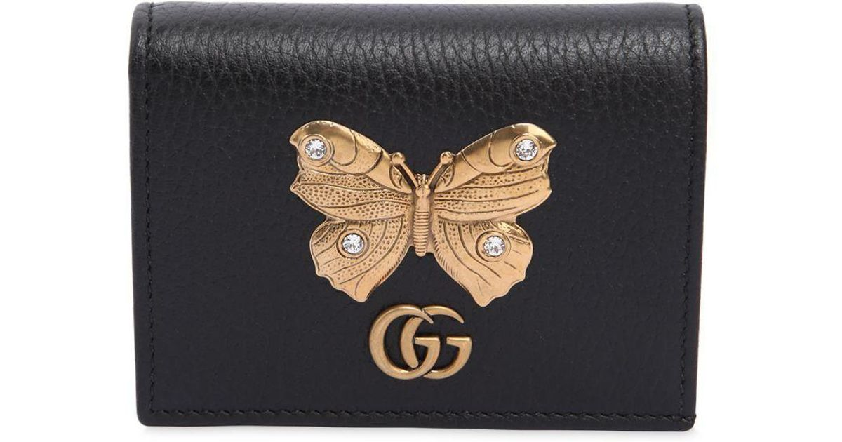 half off bcf38 ca84a Gucci Black Butterfly Leather Card Case