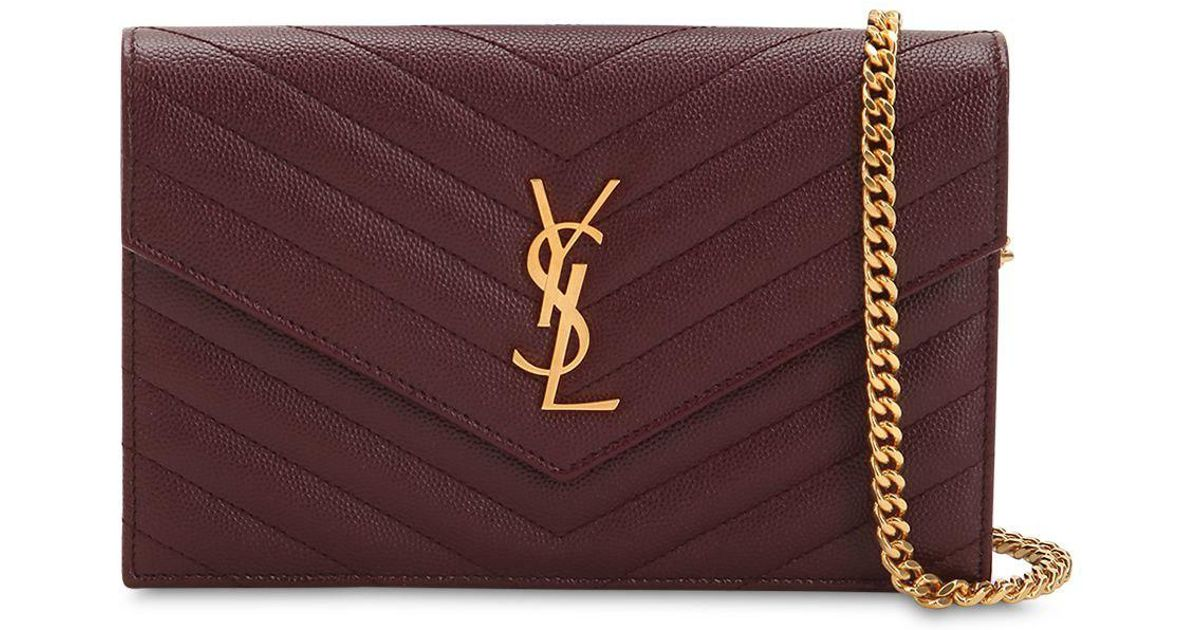 8d046ada48f8 Saint Laurent Small Quilted Monogram Leather Bag in Purple - Lyst