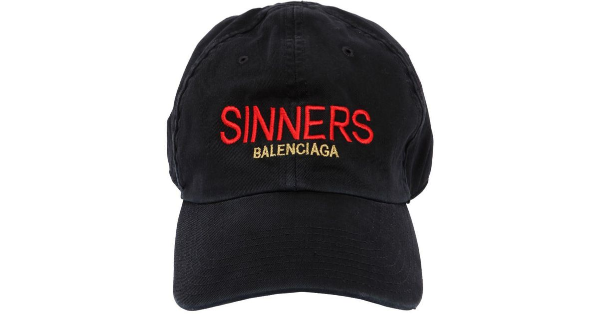8d9a4c43d15 Lyst - Balenciaga Sinners Embroidered Cotton Gabardine Hat in Black for Men