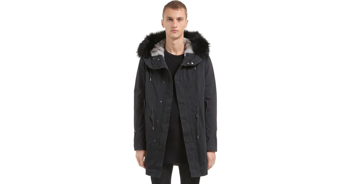 c5be64983d6d Lyst - Yves Salomon Fitted Canvas Parka W  Fur Trim   Lining in ...